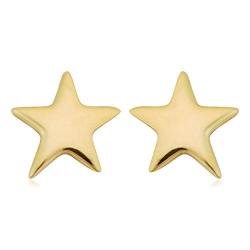 (14k Yellow Gold High Polish Petite Star Stud)