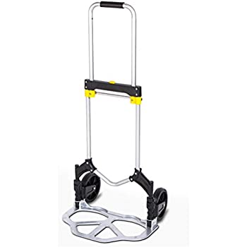 GFYWZ Folding Hand Truck Portable Compact Aluminum Grocery Trolley Dolly with Quiet Wheeling for Indoor Outdoor Travel Shopping Office