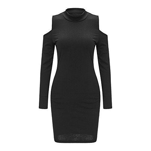 Women Long Sleeve Sexy Off Shoulder Bodycon Party Bandage Club Dress Black X-Large, PrettySoul