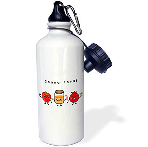 3dRose InspirationzStore - Judaica - Shana Tova - Cute Cartoon Rosh HaShanah Greeting Happy Jewish New Year - 21 oz Sports Water Bottle (wb_318149_1)