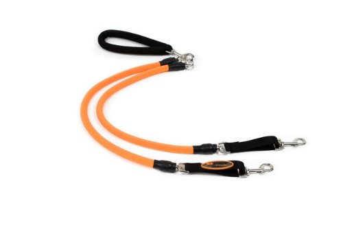 EZ Steps Low Impact Shock Absorbing Coupler Leash for Walking Two Dog up to 200 lbs. Combined Weight, Orange, My Pet Supplies