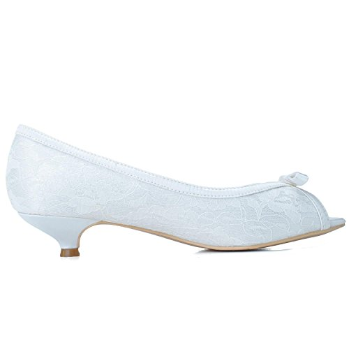 L@YC Woman's Wedding Shoes # 0700-08 Peep Toe Silk Comfortable Low Heel & Occupation/Evening Party Blue yi5Uy