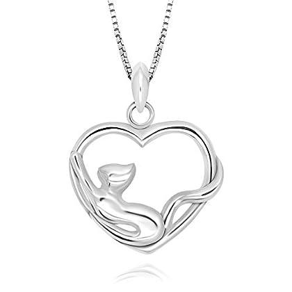 925 Sterling Silver Cute Lovly Cat Heart Pend...