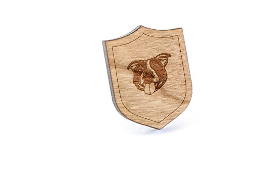 (Staffordshire Bull Terrier Lapel Pin, Wooden Pin)