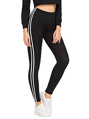 SOLY HUX Women's Yoga Soft Striped Tape Side Elastic Waist Slimming Leggings Black S