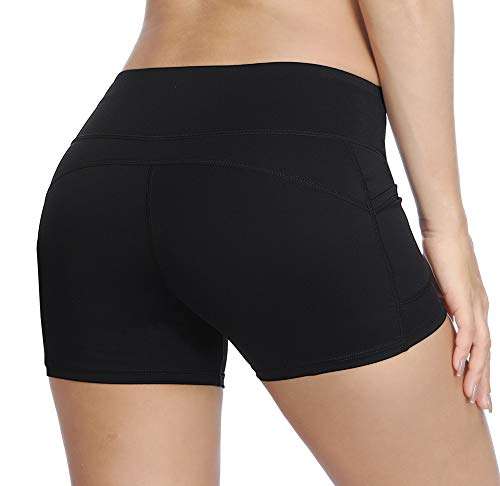 THE GYM PEOPLE Compression Short Yoga Shorts Women Power FlexRunning Fitness Shorts with Pockets (Medium, Black) by THE GYM PEOPLE (Image #4)