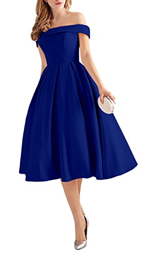 Lafee Bridal Women's Off Shoulder Prom Dresses Tea Length Cocktail Evening Gowns Royal Blue Size (A-line Tea Length Gown)