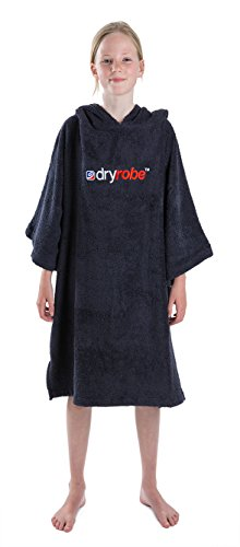 Dryrobe Kids Beach Towel Changing Robe - Short Sleeve Towelling Change Poncho/Dry Robe One Size Navy Blue