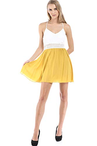 Fashion Magazine Women's Rayon Gauze, Lace and Crochet Trim Padded Dress Mustard (Trim Womens Crochet Gauze)
