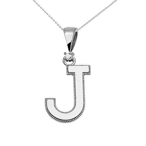 """Collier Femme Pendentif 10 Ct Or Blanc Poli Élevé Milgrain Solitaire Diamant """"J"""" Initiale (Livré avec une 45cm Chaîne)"""