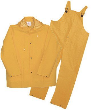 3 Piece Lined Rainsuit (Boss Rainwear 3PR0300YG 3XL Fluorescent Yellow Lined Rainsuit 3 Piece)