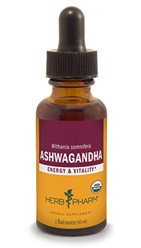 Ashwaganda Alcohol - Herb Pharm Certified Organic Ashwagandha Liquid Extract for Energy and Vitality - 1 Ounce