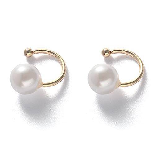 (Faux Pearl U Studs Ear Crawler Earrings Cuffs Climber Ear Wrap Pin Vine Non-pierced Charm Clip On Jewelry Small Pearl Golden Tone)
