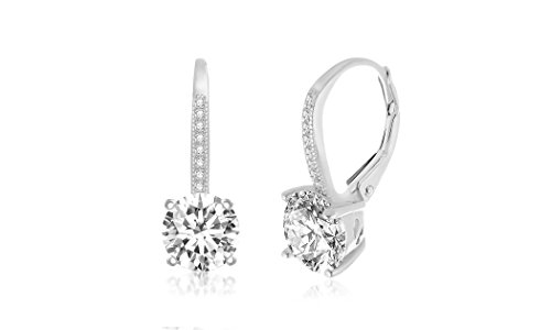 LESA MICHELE Round Cubic Zirconia Drop Leverback Bridal Gift Earrings for Women in Rhodium Plated 925 Sterling Silver (Immitation April Birthstone) ()