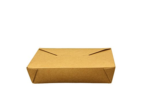 Take Out Containers Easy Fold & Close, Kraft Paper with Poly-coated Inside To-go Containers