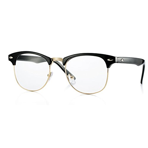 Fake Nerd Glasses Semi-Rimless Clear Lens Frame Horn Rimmed (Black/Gold, 51) -