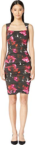 (Nicole Miller Women's Fragment Floral Felicity Dress, Black/Multi, 2)