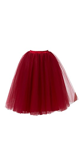 Honeystore Women's Long Ballet Multi-layer Ruffle Frilly Petticoat Tutu Skirt Burgundy (First Halloween Costumes Uk)