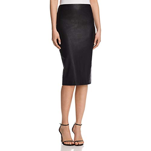 Theory Womens Lamb Leather Skinny Pencil Skirt Black 00