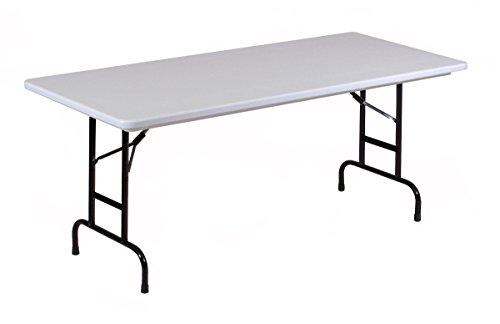 Correll RA2448-23 R Series, Adjustable Height Blow Molded Plastic Commercial Duty Folding Table, Rectangular, 24'' x 48'', Gray Granite by Correll
