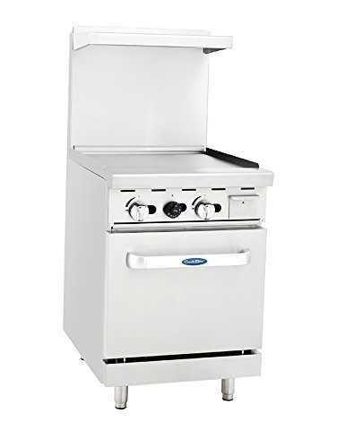 (Atosa ATO-24G 24'' Gas Range.24'' Wide Griddle with One 20'' Wide Oven)