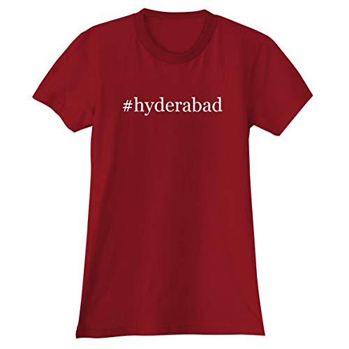#Hyderabad - A Soft & Comfortable Hashtag Women's Junior Cut T-Shirt, Red, X-Large
