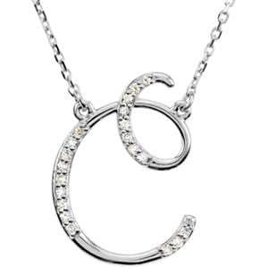 C Letter In Diamond 14k White Gold ...