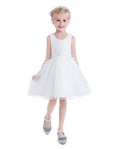 Castle Fairy Flower Girls Scoop Applique Cupcake Mini Ball Gowns Holy Communion Dresses 08 White]()