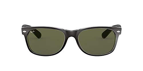 Ray-Ban RB2132 New Wayfarer Sunglasses, Black On Transparent/Green, 55 mm (Sunglasses Ray Ban New Wayfarer)
