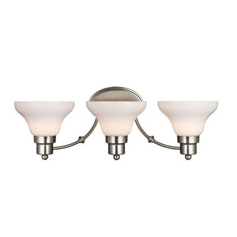 Westinghouse 6228500 Swanstone Three-Light Interior Wall Fixture, Satin Nickel Finish with White Opal Glass by Westinghouse
