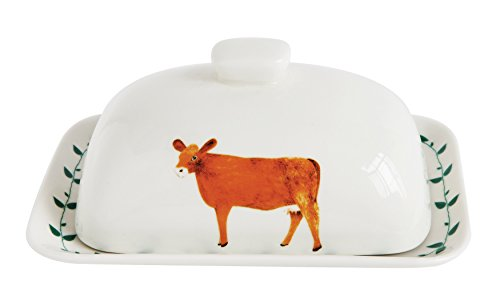 Creative Co-Op Decorative Stoneware Cow Butter Dish with Lid