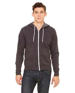 - Bella 3739 Unisex Poly-Cotton Fleece Full-Zip Hoodie - Dark Grey Heather, Large
