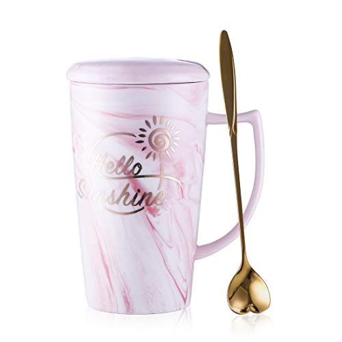 BEYONDA Ceramic Travel Coffee Mug with Lid and Handle, Marble Design Large capacity A Good Gift For Girls,Suit for Women