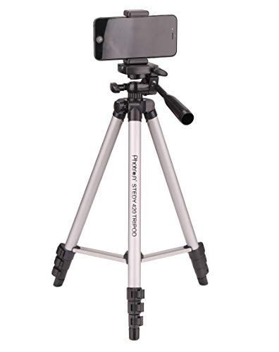 PHOTRON Stedy 420 Tripod with Mobile Holder for Smart Phone, Camera, Mobile Phone   Extends to 1240mm (4 Feet)   Folds to 425mm(1.4 Feet)   Weight Load Capacity: 2.5kg   Case Included, Silver