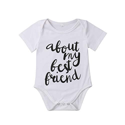 (Meipitgy Newborn Infant Baby Boy Girls Short Sleeve Letter Printed Bodysuit Romper Jumpsuit Clothes, White Infant Bodysuit (0-3 Months, Friends))