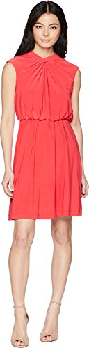 Adrianna Papell Women's Petite Matte Jersey FIT and Flare Dress, Geranium, 14P