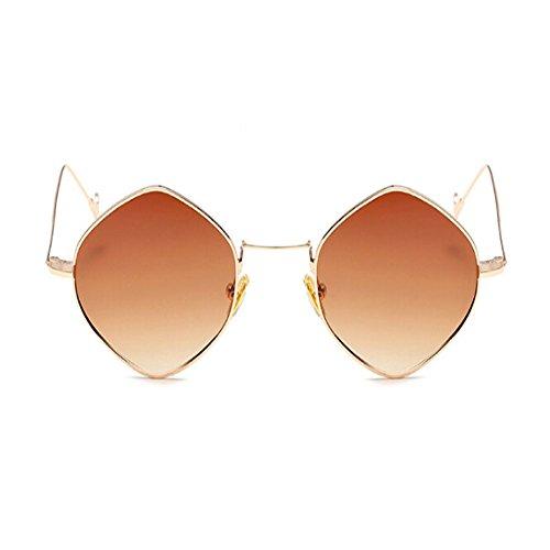Mode Or Lunettes soleil lunettes Homme Cru Métal Lunettes Voyager Polygonal Marron ou Miroir de Cadre Des soleil Femme Deylaying de 4WZUdqd