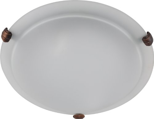 Whitfield FM10-12AWCF Carter 12-Inch Two-Light Flush Mount, Coffee with Acid Wash Glass For Sale