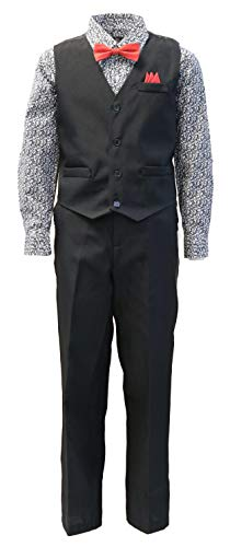 Vittorino Boys 4 Piece Holiday Suit Set with Vest Shirt Tie Pants and Hankerchief, Black/Floral B, 5 ()