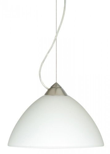 Besa Lighting 1KX-420107-SN 1X75W A19 Tessa Pendant with White Glass, Satin Nickel - Tessa Satin