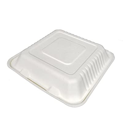 "Earthable- Eco-Friendly, 100% Compostable, Renewable and Recyclable, with Sugarcane Fiber Heavy Duty Disposable Take Out Container Clamshell Boxes (100, 9""x 9""x 3"" Square)"