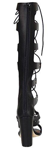 Moulantes Haut Genou Bottes Spartiates Noir Chaussures Femmes Truffe Pu Vela46 xqCwgnY4At