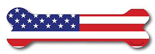 (American Flag Dog Bone Shape Magnet Decal Perfect for Car or Truck)