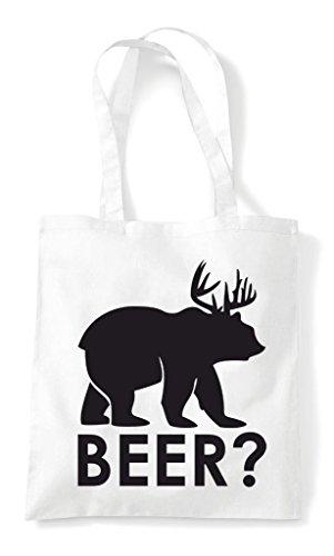 Deer Beer Cute Mark Funny Question Bear Shopper Cross White Themed Tote Animal Bag qqFTSH