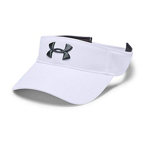 Under Armour Core Golf Visor, White//Pitch Gray, One Size Fits All - Low Profile Golf Visor