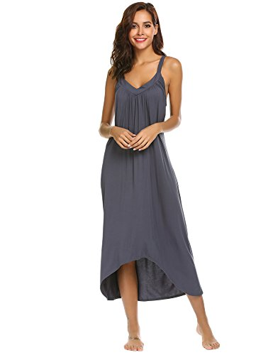 Ekouaer Womens Sleeveless Long Nightgown Summer Slip Night Dress Cotton Sleepshirt Chemise,A-dark Grey 6696,Large