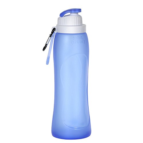 HAMSWAN 500ml Bpa Free Silicone Foldable Water Bottle with Hook [Leakproof, Heatproof, Portable, Semi-Transparent] for Outdoor Sports (17OZ)- Blue