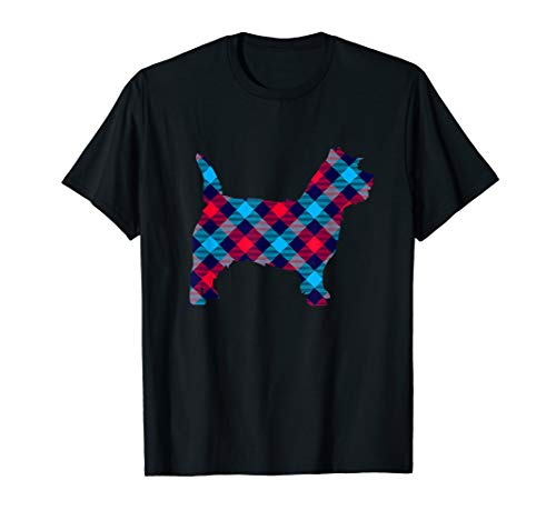Cairn Terrier Silhouette - Cairn Terrier Plaid Dog Silhouette T-Shirt v3
