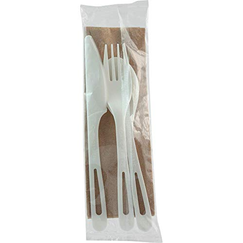 World Centric AS-PS-TN TPLA Assorted Cutlery Individually Wrapped with Fork, Knife, Spoon, Napkin (Pack of 250 sets)