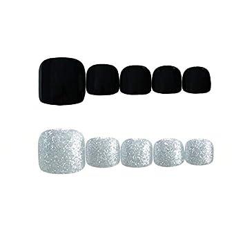 Amazon.com: 24 uñas postizas negras mate para los dedos de ...